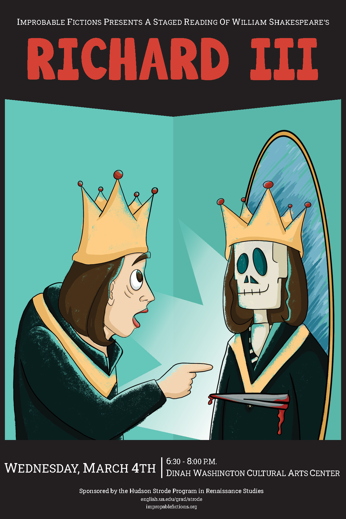 Cartoon of Richard III seeing a stabbed, skeletal version of himself in a mirror.