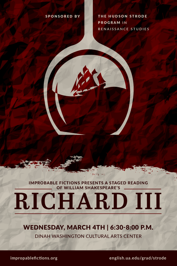 Richard III poster with the image of a wine glass submerged in a sea of wine, upon which a boat is tossed. A reference to Clarence's dream of drowning.